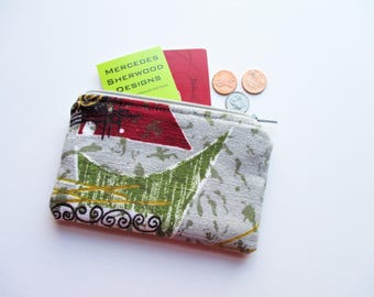 Green Red Gray Atomic Geometric Vintage Barkcloth Fabric Coin Purse Business Loyalty Carder Holder