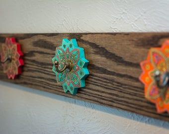 Wall-mounted Oak Entryway Rack and Hangers