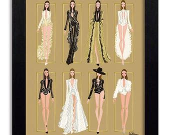 House of Worth - Fashion Illustration Print Fashion Print Fashion Art Fashion Wall Art Fashion Poster Fashion Sketch Art Print