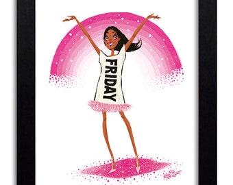 FRIDAY - Fashion Illustration Print Fashion Print Fashion Art Fashion Wall Art Fashion Poster Fashion Sketch Illustration Art Print