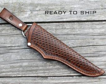 Leather knife sheath; handmade, basketweave stamping, brown - antique effect; knife sheath; custom knife sheath; bushcraft knife sheath