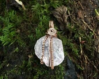Wire wrapped rose quartz, raw rose quartz pendant, raw rose quartz, crystal necklace, hippie, fairy, raw crystal, quartz pendant, pixie
