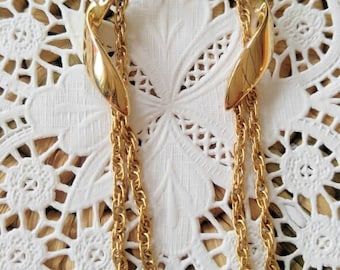 GORGEOUS signed Trafari Gold Earrings with twists and chains-Unusual-Vintage-All Orders Only 99c Shipping!