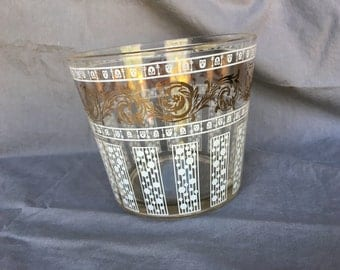 1960's small glass ice bucket/bowl frosted with gold rim leaf details very retro