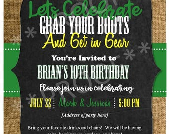 John Deere and Fishing inspired evites, digital invitations, birthday parties, kids parties, personalized birthday invitations for boys