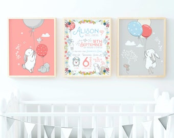 Rabbit Nursery Art, Rabbit Nursery Print, Birth Announcement Wall Art, Birth Announcement Print, Baby Girl Nursery Wall Art, Pink Nursery