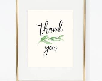 Printable Greenery Wedding Thank You Sign