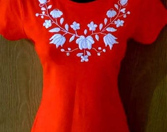 Hand embroidered cotton red women T shirt/top  All size