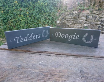 Stable sign - personalised - Laser Engraved - Natural Welsh Slate