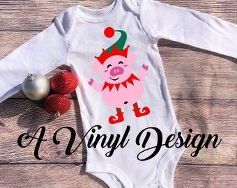 Christmas Pig Elf Bodysuit