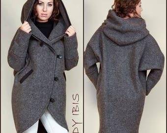 "Woman spring cardigan ""Modena"",plus size, loose long cardigan, grey cardigan, wool cardigan, handmade woman cardigan, modern cardigan,"