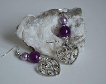 Silver heart and purple bead earrings