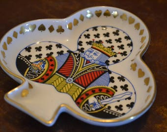 Spode Dish, Made in England Fine Bone China, Colorful King of Clubs Small Dish or Ashtray