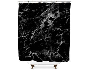 Black marble shower curtain