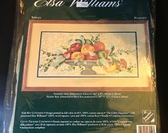 "Elsa Williams Needlepoint Kit  06419 Apples 16 "" x 8 ""  Anne Lapoint Fruit Basket Fall Decor Hostess Gift"