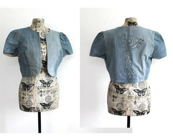 Handmade Upcycled Blue Denim Bolero  unique Shrug  artisan Tree applique Cropped jacket Rounded Front Bolero