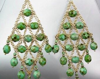 GORGEOUS Green Turquoise Gold Chandelier Dangle Earrings, Bohemian Earrings, Cascading Dangle Earrings, FREE SHIPPING!