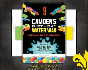 WATER WAR . birthday invitation