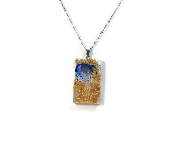 Glitter Royal blue and Gold pendant necklace, resin jewelry, glitter resin pendant mounted on stainless steel chain