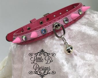 SMALL Hot Pink and Light Pink Faux Leather Kittenplay Petplay Collar Choker Necklace Ddlg Bdsm
