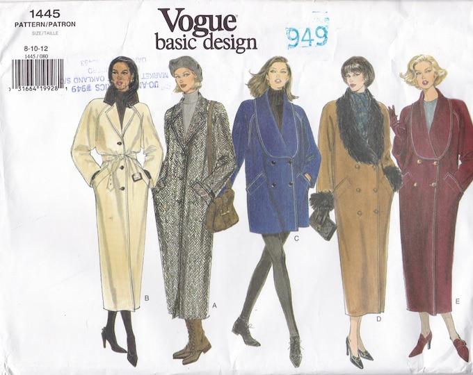 Free Us Ship Sewing Pattern Vogue 1445 Vintage 1990s 90's Double Breasted Coat Basic Design 8 10 12 Bust 31.5 32.5 34 Uncut Large Envelope