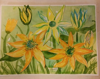 Sunny Yellow Flowers Watercolor