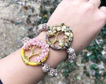 Tree of Life Crystal Bracelet, Boho Jewelry, Gemstone Jewelry, Chakra Jewelry, Tiger Skin Jasper, Rhodochrosite