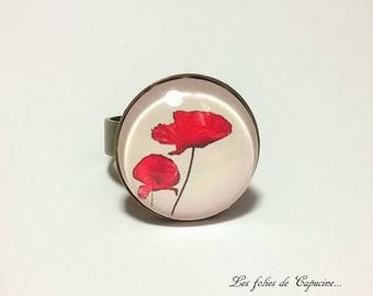 ring • coquelicots• black red flower glass cabochon