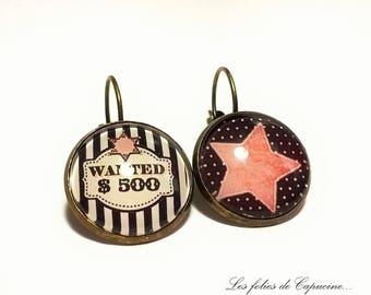 Earrings cabochon Calamity Jane • •