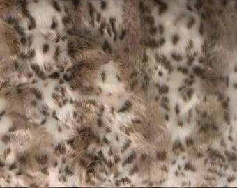 Snow Leopard Faux Fur Fabric Remnant