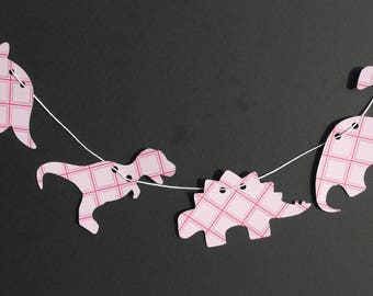 Girls party bunting, Pink Dinosaur Banner, Dinosaur garland, paper Dinosaurs, Dinosaur Party decor, Dinosaur bunting, Baby shower banner