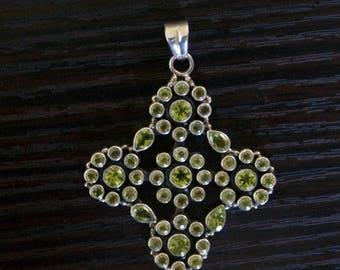 ON SALE Bold PERIDOT Silver Pendant