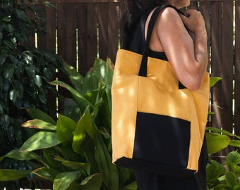 Yellow tote bag.  Large tote bag. Shoulder bag. Yellow bag purse. Yellow and black handbag.