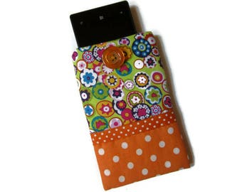 Pouch, bag, quilted pouch cell phone, glasses, orange green, flowers, circles, PEP