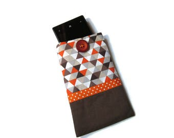 cover for smartphone, wallet, case padded cell phone, Brown, orange, printed chart