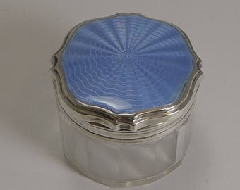 Art Deco Sterling Silver and Guilloche Enamel Lidded Vanity Jar - 1931