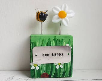 Bee Happy Gift - Bee Happy - Handmade Keepsake - Lampwork Ornament - Collectible Figurine - Lampwork Glass Keepsake - Friendship Gift - Fun