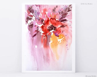 ORIGINAL floral, watercolor flowers, red abstract, red painting, red watercolor, red flower art, red flower artwork, abstract flower