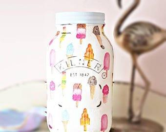 Ice cream Kilner jar, Painted kilner jar, decoupage jar, mason jar, shabby chic home decor, ice cream home decor, nursery decor,