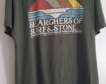 FREE SHIPPING in USA // Searchers of Surf and Stone t-shirt // Organic cotton // Los Angeles // Size xl //