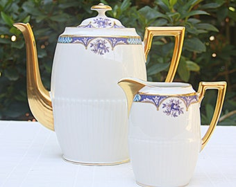 Lovely Vintage Limoges Oval Coffeepot/Teapot and Creamer, Blue and Purpler Decor, Gilded Sprout and Handles, France