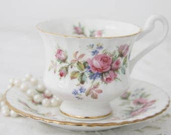 Vintage Royal Standard Cup and Saucer, Lady Size, Moss Rose Decor, England