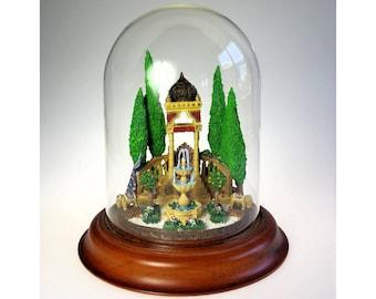 Shalamar Paradise Garden Sculpture w Glass Dome Franklin Mint Barry Shiraishi