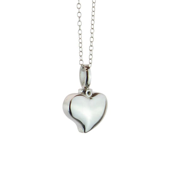 Solid Silver Small Heart Cremation Ashes Urn Pendant Necklace JPc5oIq