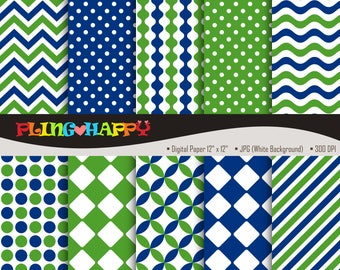 70% OFF Blue And Green Digital Papers, Chevron/Polka Dot/Wave/Stripe Pattern Graphics, Personal & Small Commercial Use, Instant Download