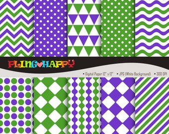 70% OFF Green And Purple Digital Papers, Chevron/Polka Dot/Wave/Stripe Pattern Graphics, Personal & Small Commercial Use, Instant Download