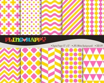 70% OFF Hot Pink And Golden Yellow Digital Papers, Chevron/Polka Dot/Wave/Stripe Graphics, Personal & Small Commercial Use, Instant Download