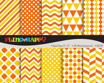 70% OFF Yellow And Orange Digital Papers, Chevron/Polka Dot/Wave/Stripe Pattern Graphics, Personal & Small Commercial Use, Instant Download