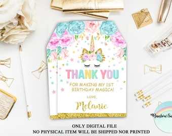 Unicorn Gift Tags, Unicorn Favor Tags Printable, Unicorn Birthday Party, Floral Thank You Tags, Magical Unicorn Favor Tags, Digital File