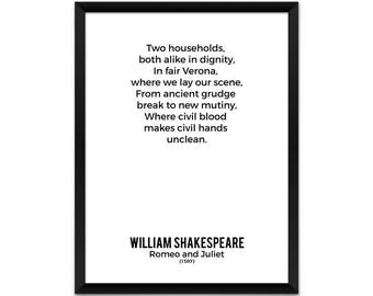 William Shakespeare Poster, Romeo and Juliet Prologue Opening Lines Poster, Book Poster, Literature Poster